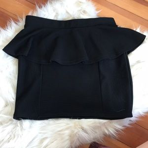 Top shop black ribbed mini skirt with flare waist